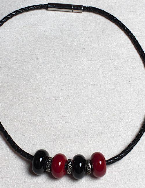 collier cuir rouge noir 10